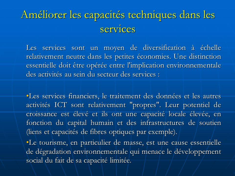 Améliorer les capacités techniques dans les services Les services sont un moyen de diversification à échelle relativement neutre dans les petites économies.