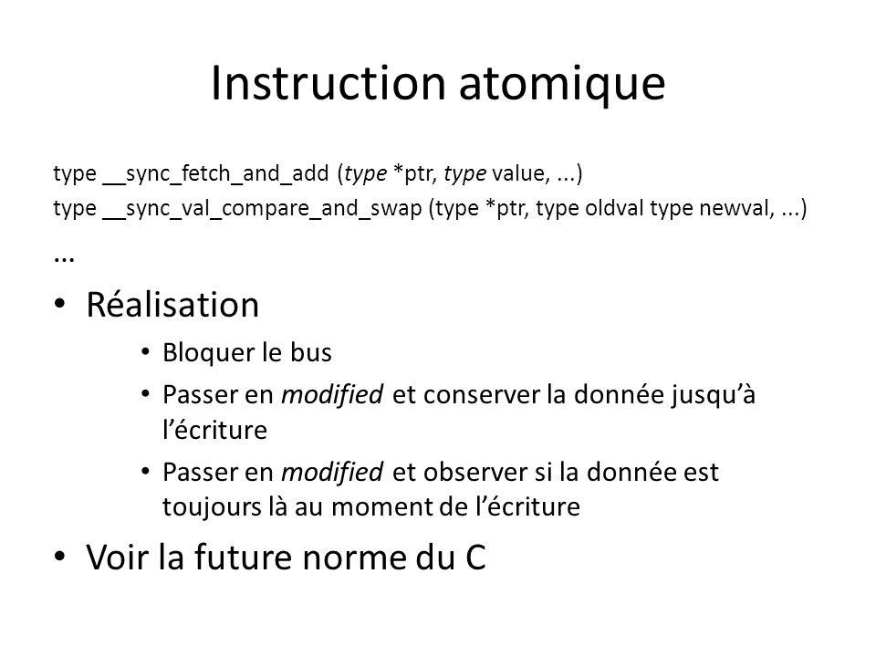 Instruction atomique type __sync_fetch_and_add (type *ptr, type value,...) type __sync_val_compare_and_swap (type *ptr, type oldval type newval,...) … Réalisation Bloquer le bus Passer en modified et conserver la donnée jusquà lécriture Passer en modified et observer si la donnée est toujours là au moment de lécriture Voir la future norme du C