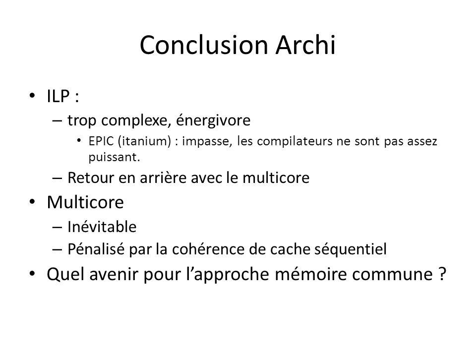 Conclusion Archi ILP : – trop complexe, énergivore EPIC (itanium) : impasse, les compilateurs ne sont pas assez puissant.