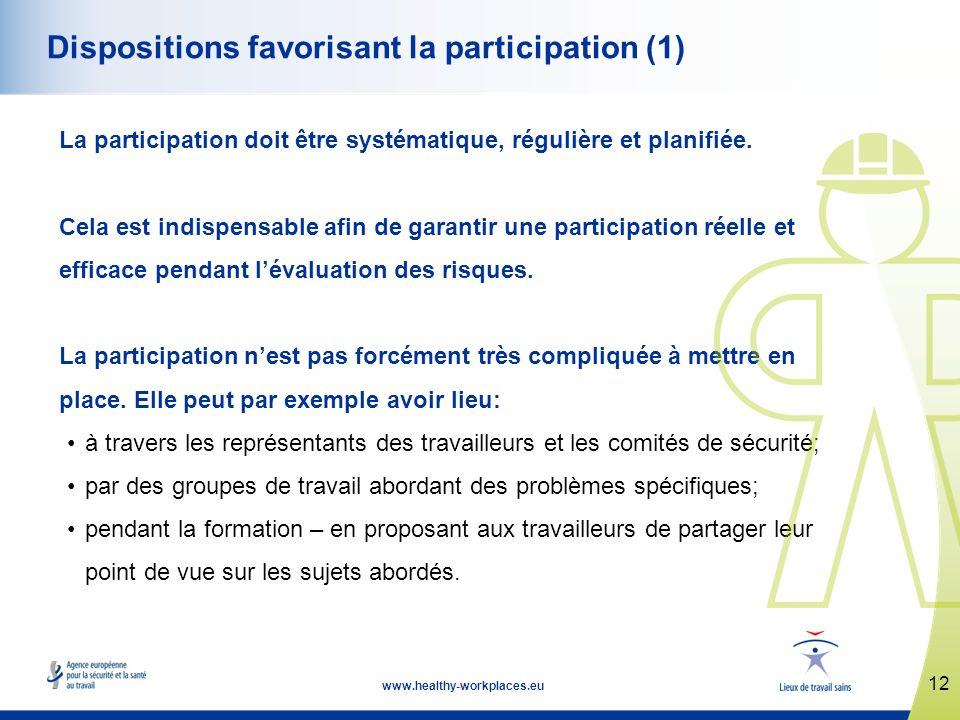 12 www.healthy-workplaces.eu Dispositions favorisant la participation (1) La participation doit être systématique, régulière et planifiée.
