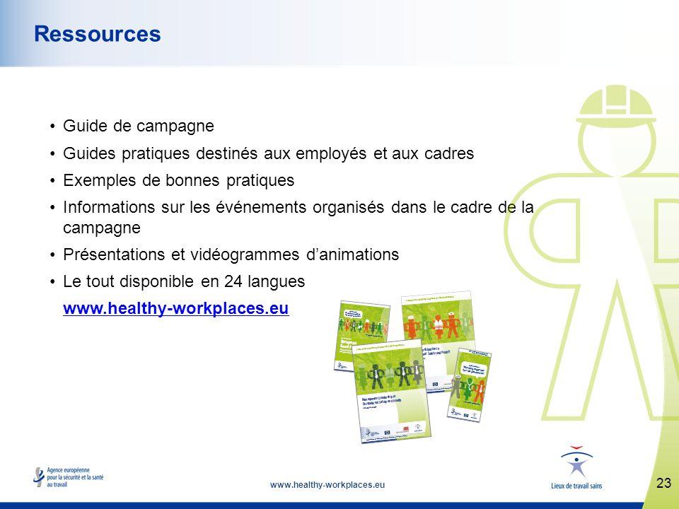 www.healthy-workplaces.eu Guide de campagne Guides pratiques destinés aux employés et aux cadres Exemples de bonnes pratiques Informations sur les événements organisés dans le cadre de la campagne Présentations et vidéogrammes danimations Le tout disponible en 24 langues www.healthy-workplaces.eu 23 Ressources