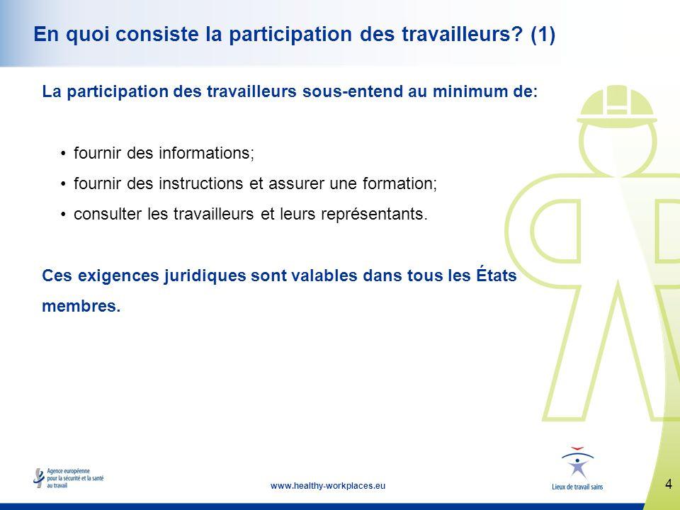 4 www.healthy-workplaces.eu En quoi consiste la participation des travailleurs.