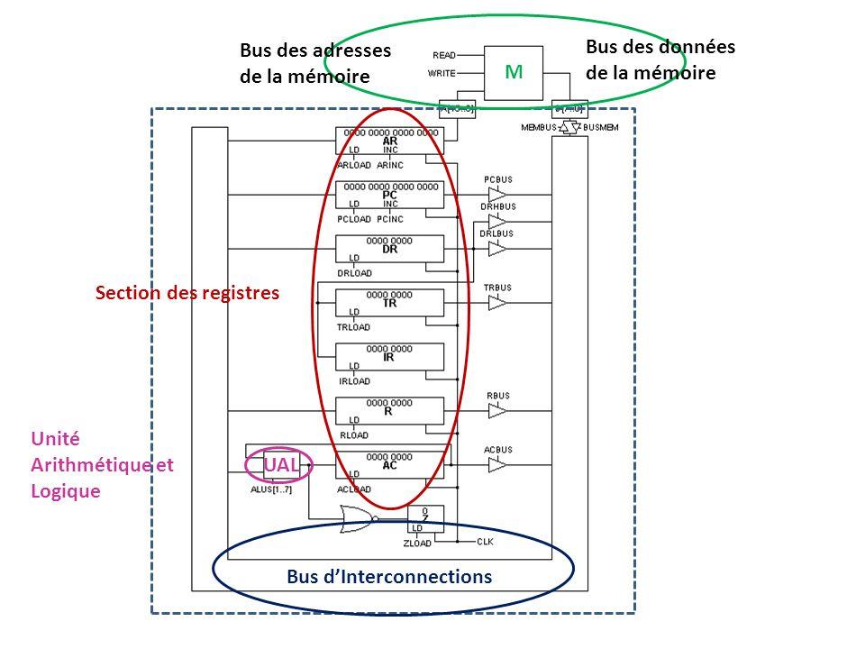 M Bus dInterconnections Bus des données de la mémoire Bus des adresses de la mémoire UAL Unité Arithmétique et Logique Section des registres