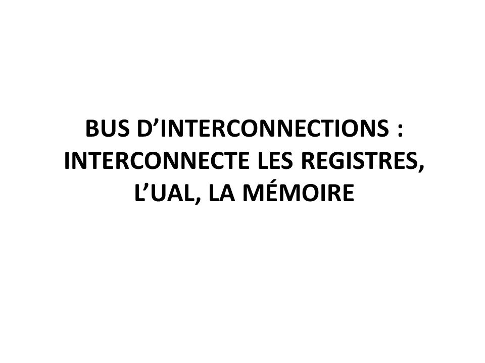 BUS DINTERCONNECTIONS : INTERCONNECTE LES REGISTRES, LUAL, LA MÉMOIRE