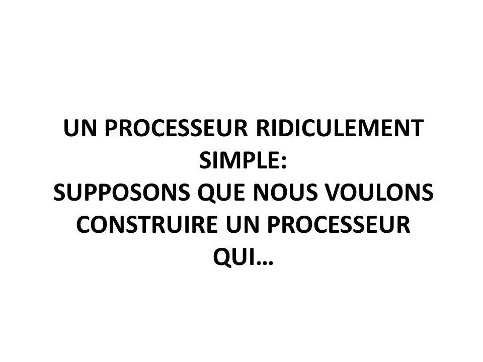 UN PROCESSEUR RIDICULEMENT SIMPLE: SUPPOSONS QUE NOUS VOULONS CONSTRUIRE UN PROCESSEUR QUI…