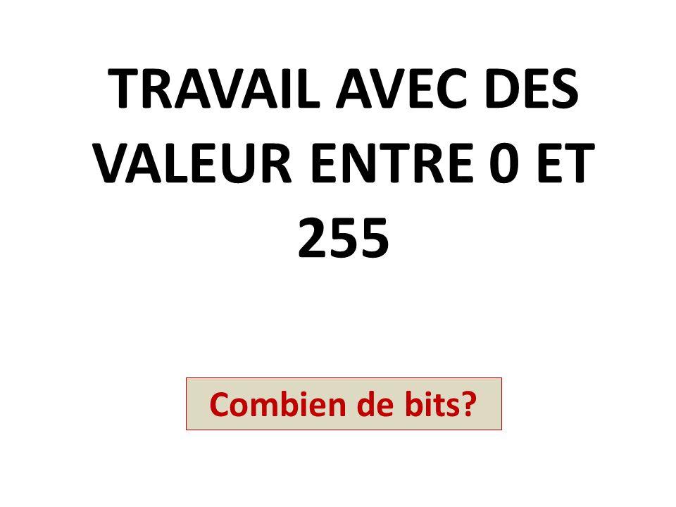 TRAVAIL AVEC DES VALEUR ENTRE 0 ET 255 Combien de bits?