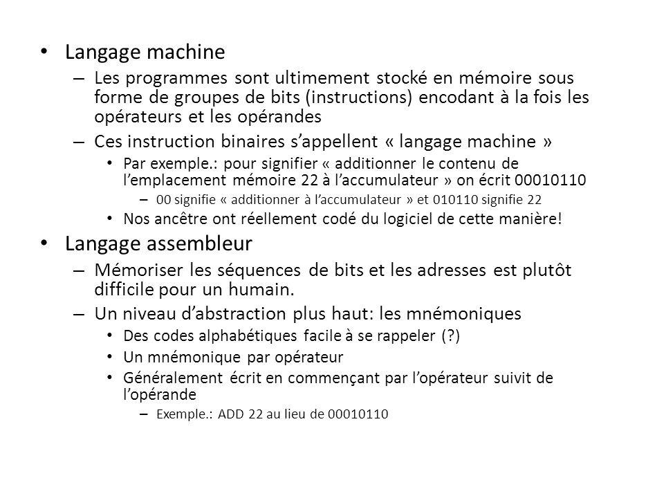 Langage machine – Les programmes sont ultimement stocké en mémoire sous forme de groupes de bits (instructions) encodant à la fois les opérateurs et l