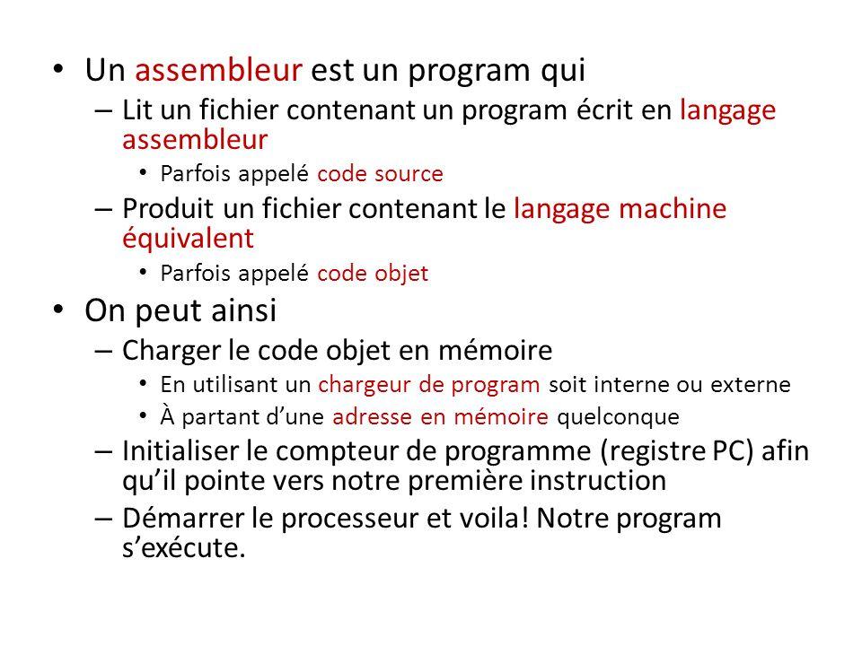 Un assembleur est un program qui – Lit un fichier contenant un program écrit en langage assembleur Parfois appelé code source – Produit un fichier con