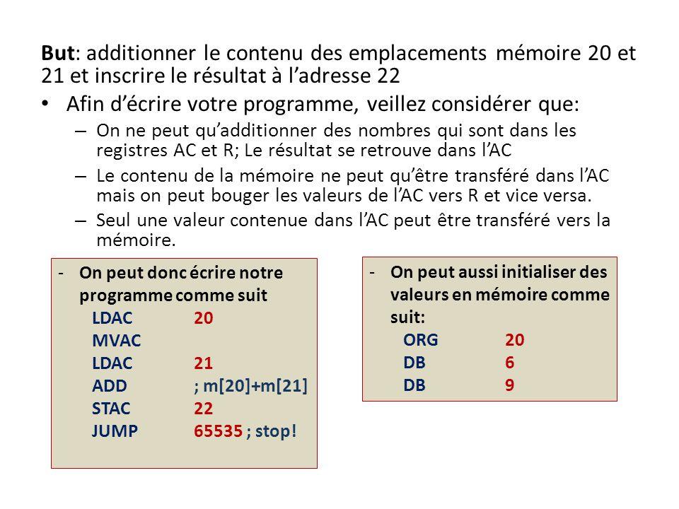 But: additionner le contenu des emplacements mémoire 20 et 21 et inscrire le résultat à ladresse 22 Afin décrire votre programme, veillez considérer q