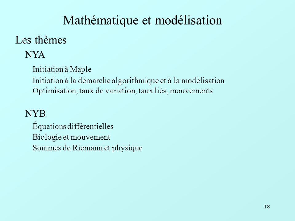 18 Mathématique et modélisation Initiation à Maple Initiation à la démarche algorithmique et à la modélisation Optimisation, taux de variation, taux liés, mouvements NYA Les thèmes Équations différentielles Biologie et mouvement Sommes de Riemann et physique NYB