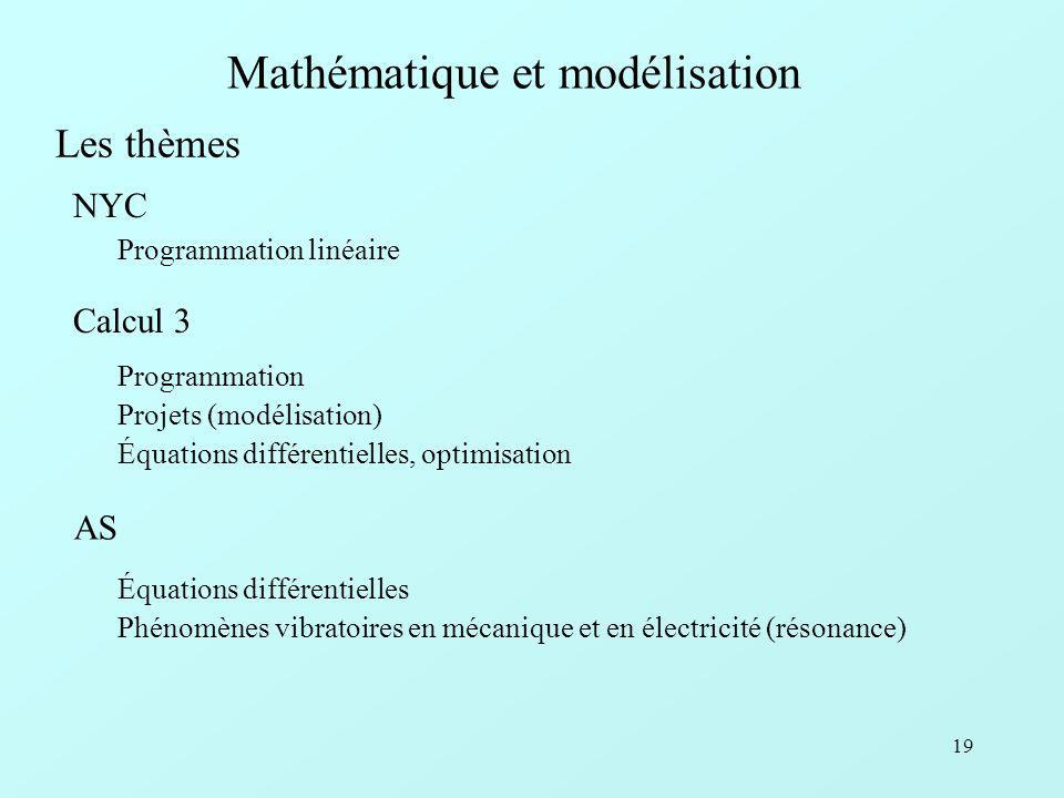 19 Mathématique et modélisation Programmation linéaire NYC Les thèmes Programmation Projets (modélisation) Équations différentielles, optimisation Calcul 3 Équations différentielles Phénomènes vibratoires en mécanique et en électricité (résonance) AS