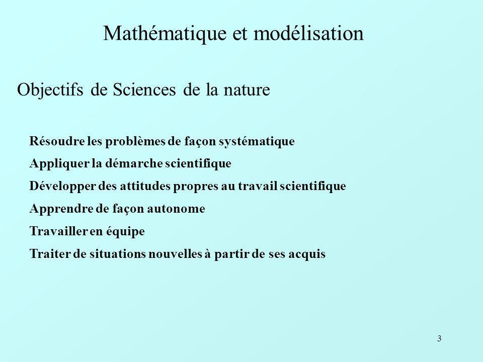 3 Mathématique et modélisation Objectifs de Sciences de la nature Résoudre les problèmes de façon systématique Appliquer la démarche scientifique Développer des attitudes propres au travail scientifique Apprendre de façon autonome Travailler en équipe Traiter de situations nouvelles à partir de ses acquis