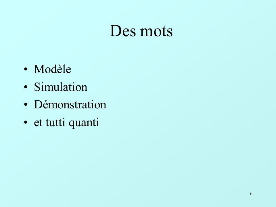 6 Des mots Modèle Simulation Démonstration et tutti quanti
