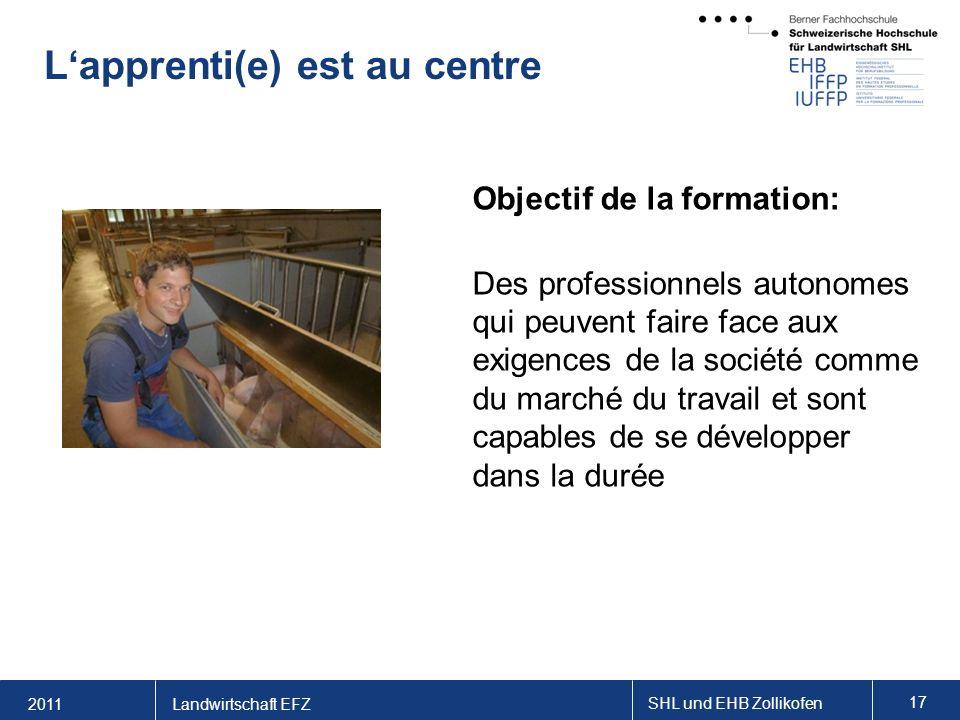 2011 SHL und EHB Zollikofen 17 Landwirtschaft EFZ Lapprenti(e) est au centre Objectif de la formation: Des professionnels autonomes qui peuvent faire face aux exigences de la société comme du marché du travail et sont capables de se développer dans la durée