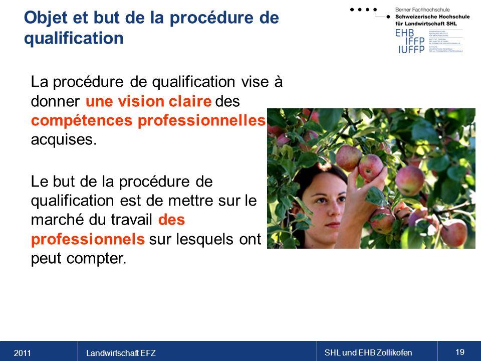 2011 SHL und EHB Zollikofen 19 Landwirtschaft EFZ Objet et but de la procédure de qualification La procédure de qualification vise à donner une vision claire des compétences professionnelles acquises.