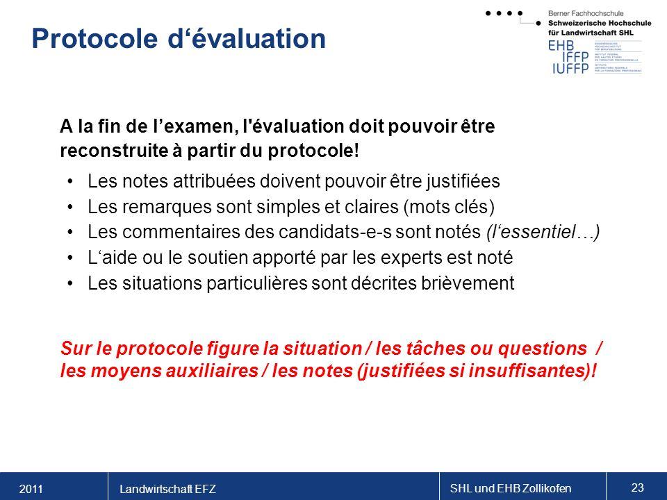 2011 SHL und EHB Zollikofen 23 Landwirtschaft EFZ Protocole dévaluation A la fin de lexamen, l évaluation doit pouvoir être reconstruite à partir du protocole.