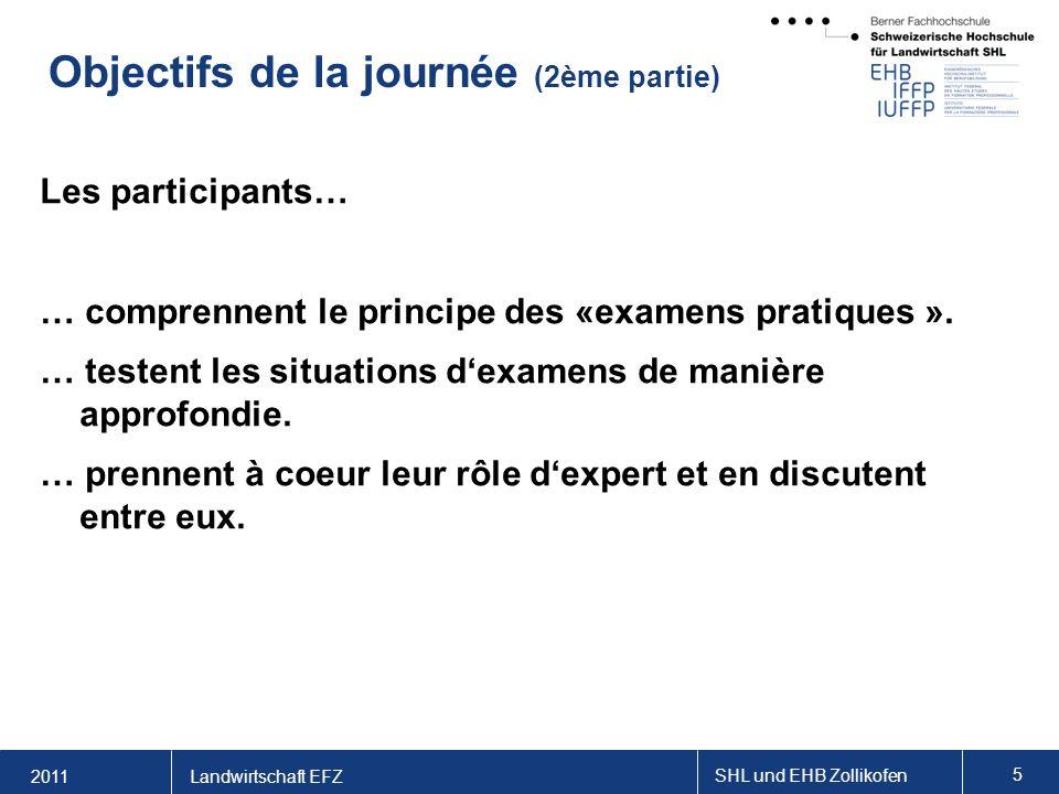 2011 SHL und EHB Zollikofen 5 Landwirtschaft EFZ Objectifs de la journée (2ème partie) Les participants… … comprennent le principe des «examens pratiques ».