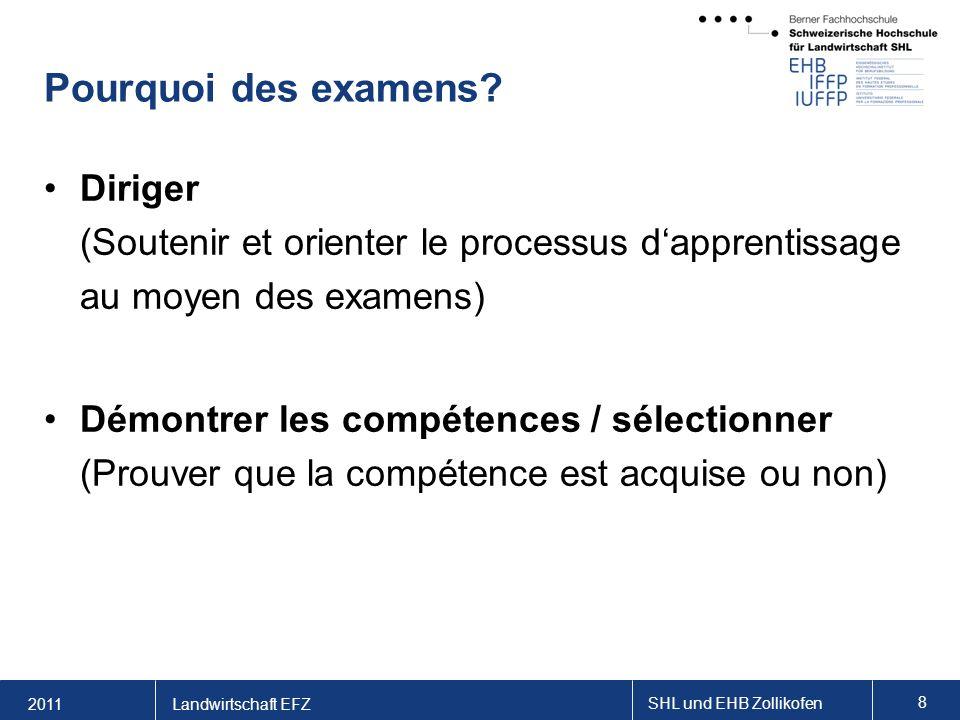 2011 SHL und EHB Zollikofen 8 Landwirtschaft EFZ Pourquoi des examens.