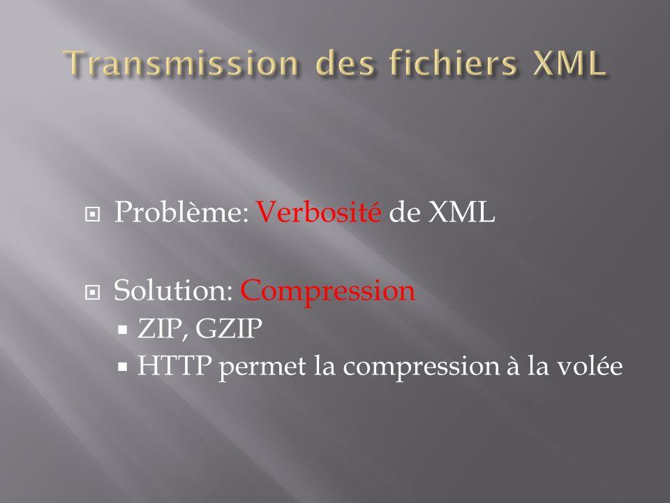Problème: Verbosité de XML Solution: Compression ZIP, GZIP HTTP permet la compression à la volée