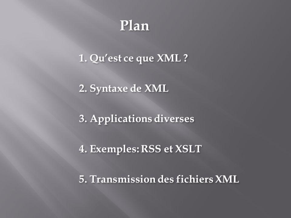 Plan 1. Quest ce que XML ? 2. Syntaxe de XML 3. Applications diverses 4. Exemples: RSS et XSLT 5. Transmission des fichiers XML Plan 1. Quest ce que X