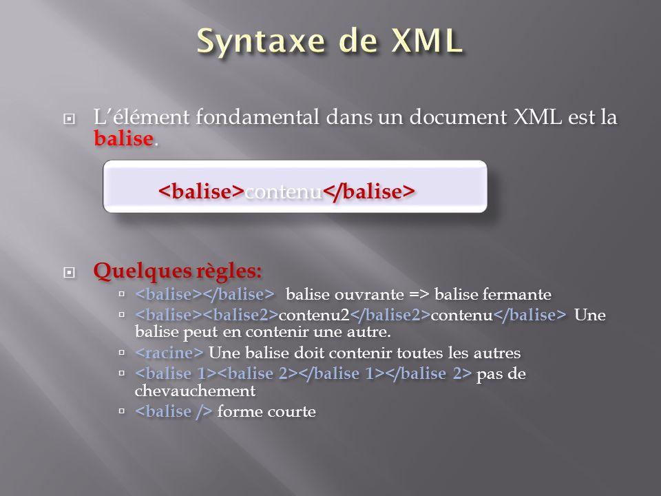 Lélément fondamental dans un document XML est la balise. contenu Quelques règles: balise ouvrante => balise fermante contenu2 contenu Une balise peut
