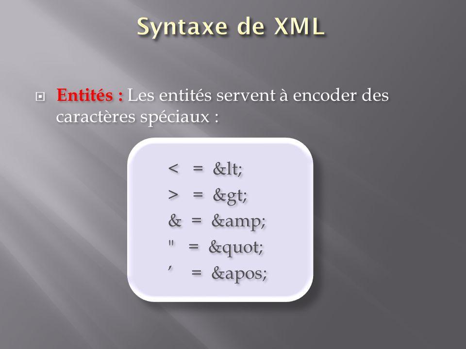 Entités : Les entités servent à encoder des caractères spéciaux : < = &lt; > = &gt; & = &amp;