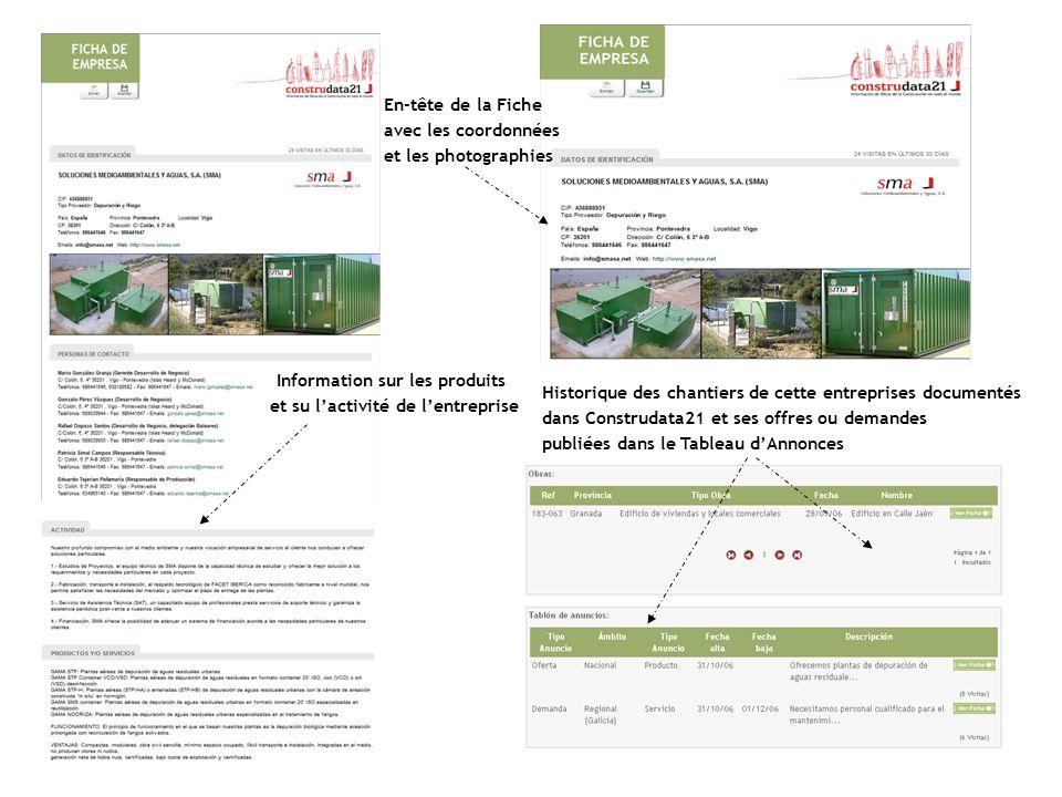 Historique des chantiers de cette entreprises documentés dans Construdata21 et ses offres ou demandes publiées dans le Tableau dAnnonces Information s