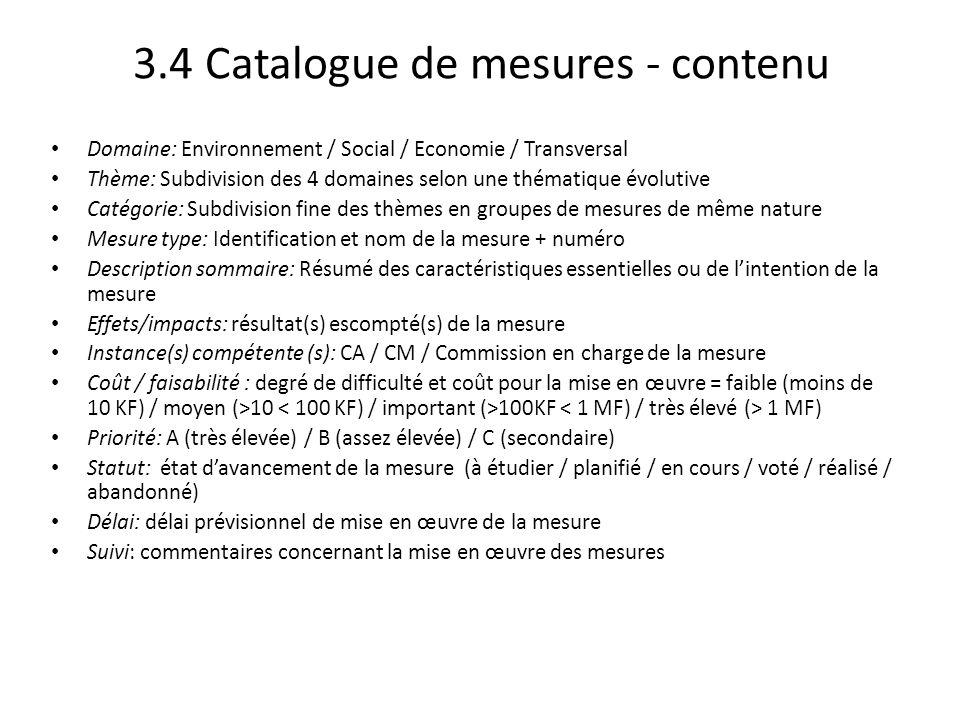 3.4 Catalogue de mesures - contenu Domaine: Environnement / Social / Economie / Transversal Thème: Subdivision des 4 domaines selon une thématique évo