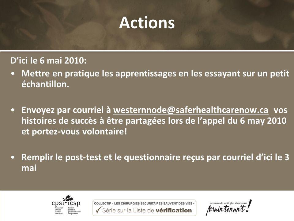 Actions Dici le 6 mai 2010: Mettre en pratique les apprentissages en les essayant sur un petit échantillon. Envoyez par courriel à westernnode@saferhe