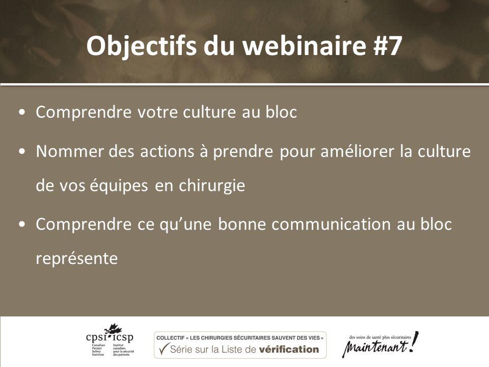 Objectifs du webinaire #7 Comprendre votre culture au bloc Nommer des actions à prendre pour améliorer la culture de vos équipes en chirurgie Comprend