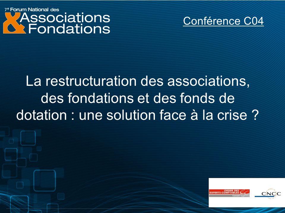 La restructuration des associations, des fondations et des fonds de dotation : une solution face à la crise ? Conférence C04