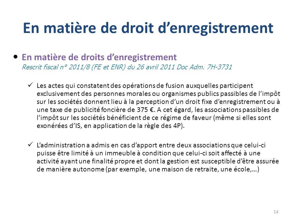 En matière de droit denregistrement En matière de droits denregistrement Rescrit fiscal n° 2011/8 (FE et ENR) du 26 avril 2011 Doc Adm. 7H-3731 Les ac