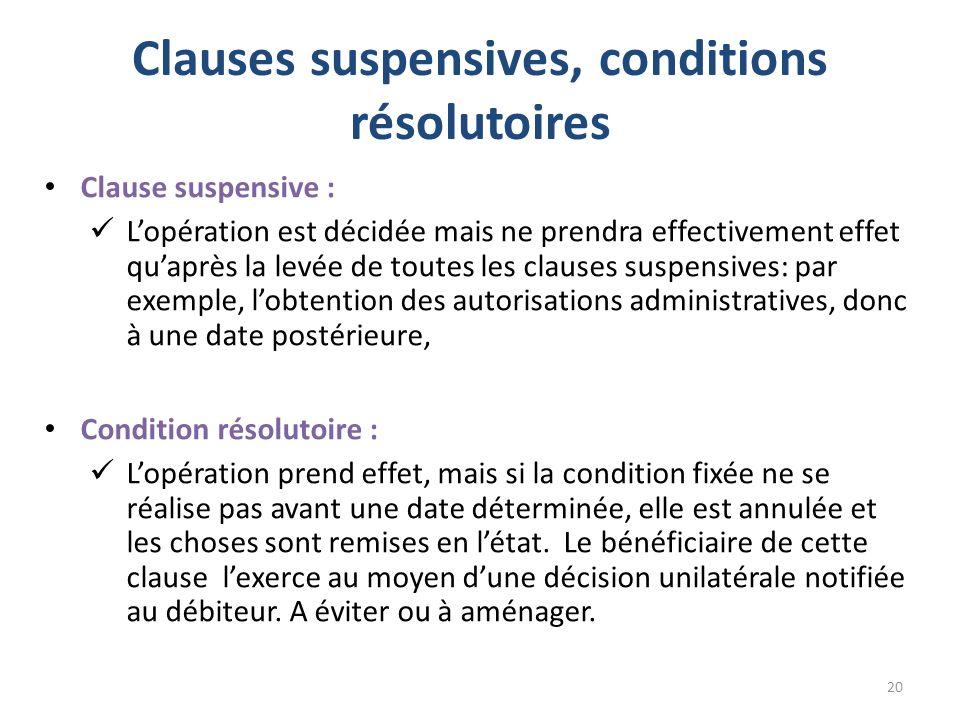 Clauses suspensives, conditions résolutoires Clause suspensive : Lopération est décidée mais ne prendra effectivement effet quaprès la levée de toutes