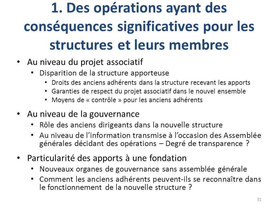1. Des opérations ayant des conséquences significatives pour les structures et leurs membres Au niveau du projet associatif Disparition de la structur
