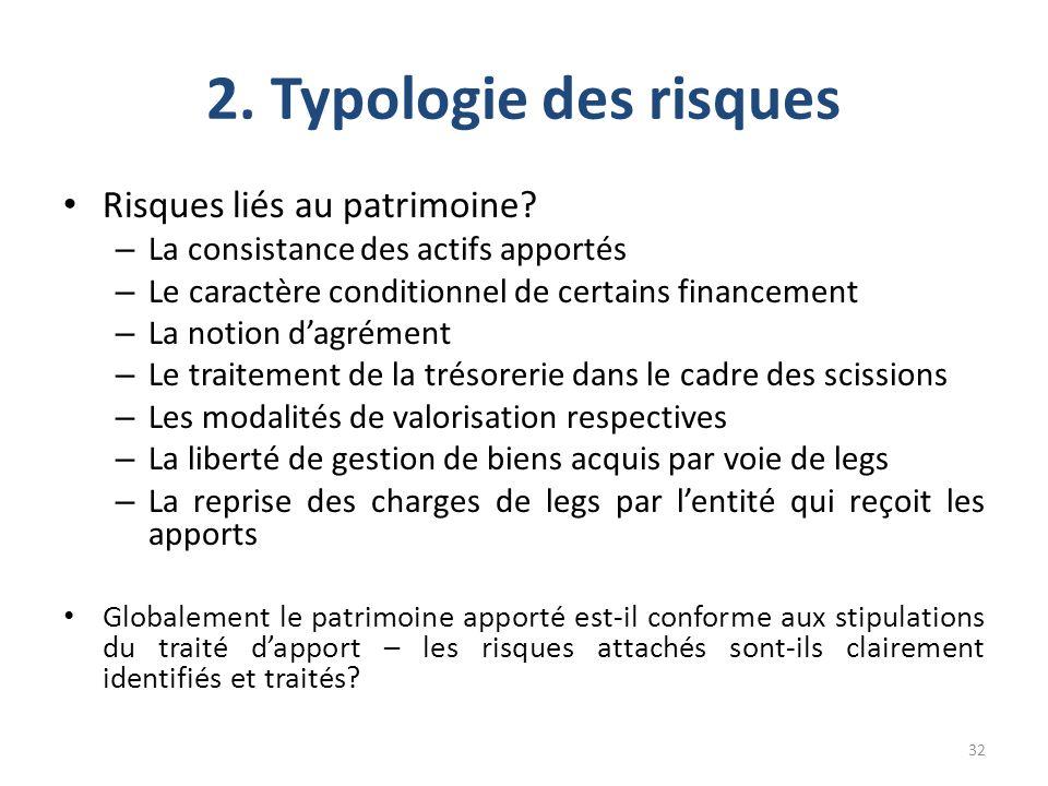 2. Typologie des risques Risques liés au patrimoine? – La consistance des actifs apportés – Le caractère conditionnel de certains financement – La not