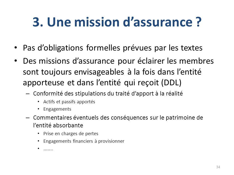 3. Une mission dassurance ? Pas dobligations formelles prévues par les textes Des missions dassurance pour éclairer les membres sont toujours envisage