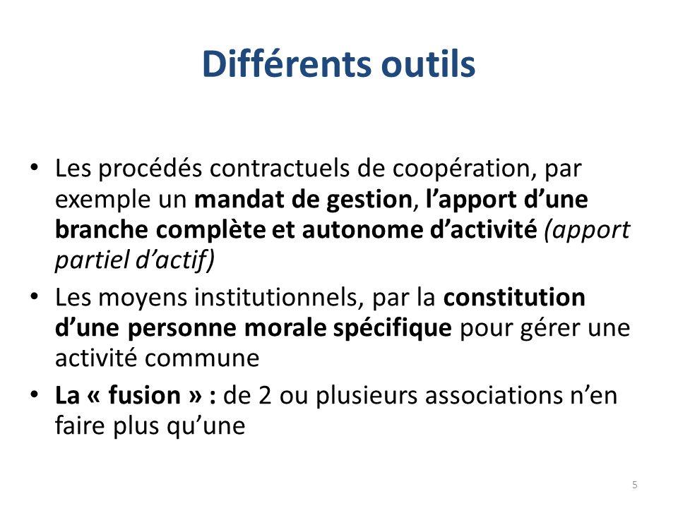 Différents outils Les procédés contractuels de coopération, par exemple un mandat de gestion, lapport dune branche complète et autonome dactivité (app