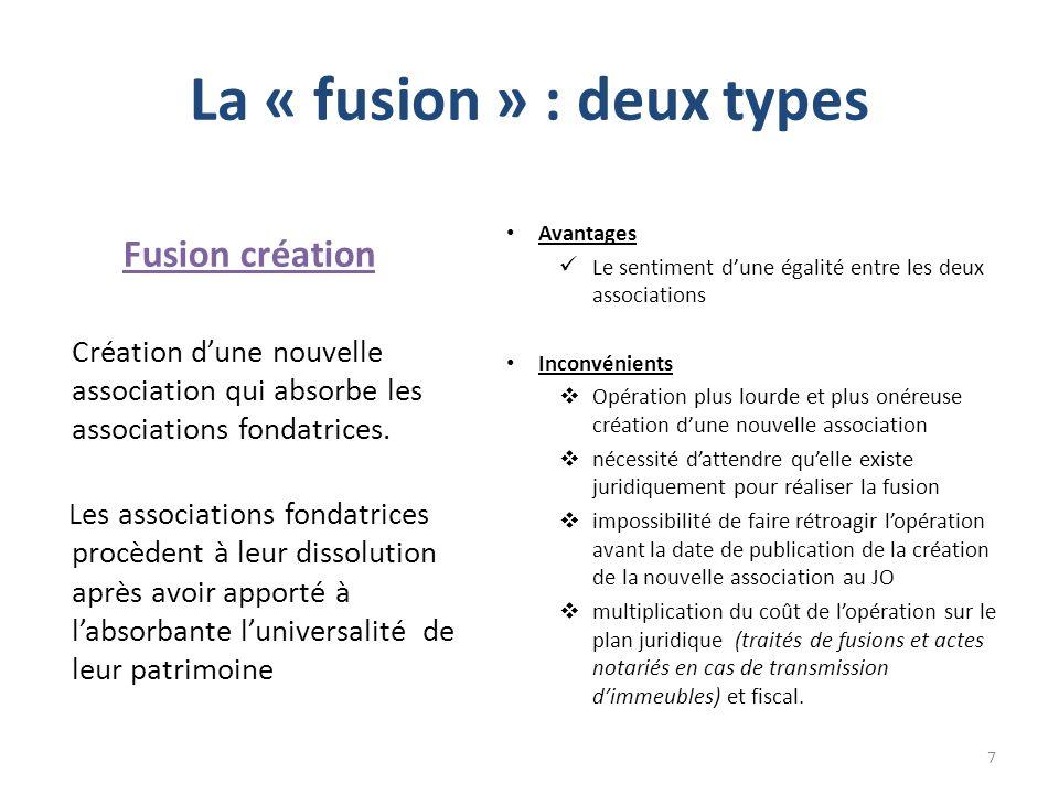 La « fusion » : deux types Fusion création Création dune nouvelle association qui absorbe les associations fondatrices. Les associations fondatrices p