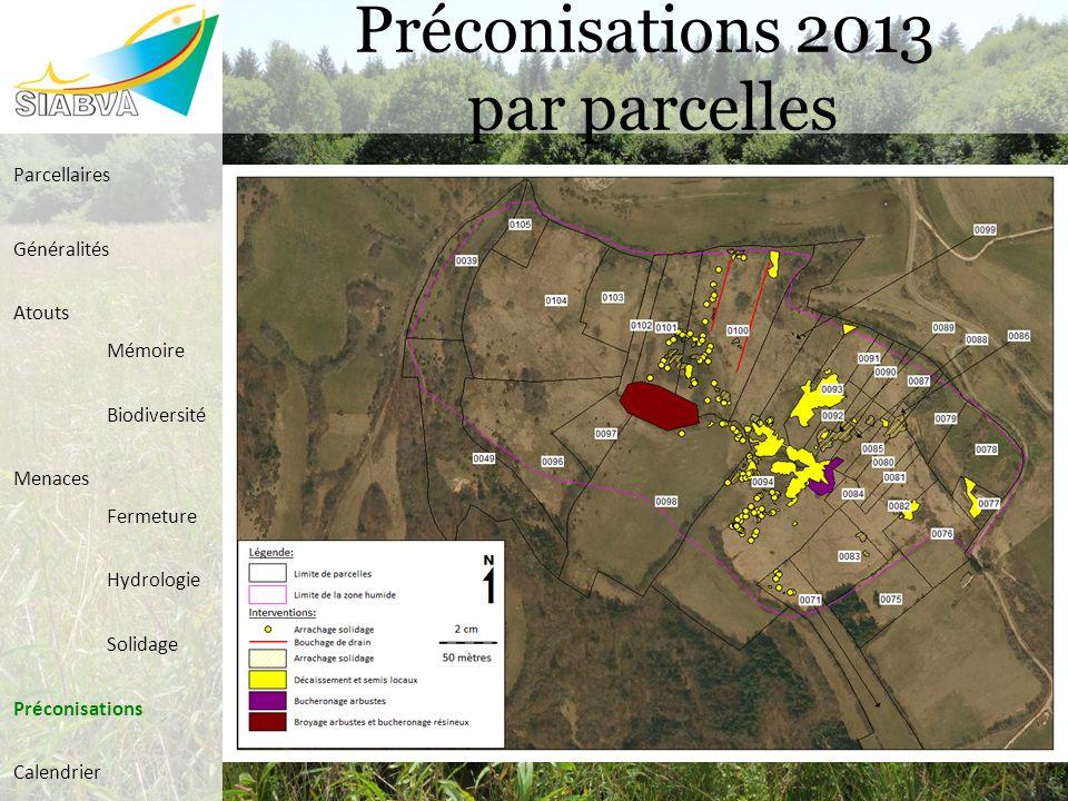 Préconisations 2013 par parcelles Parcellaires Généralités Atouts Mémoire Biodiversité Menaces Fermeture Hydrologie Solidage Préconisations Calendrier