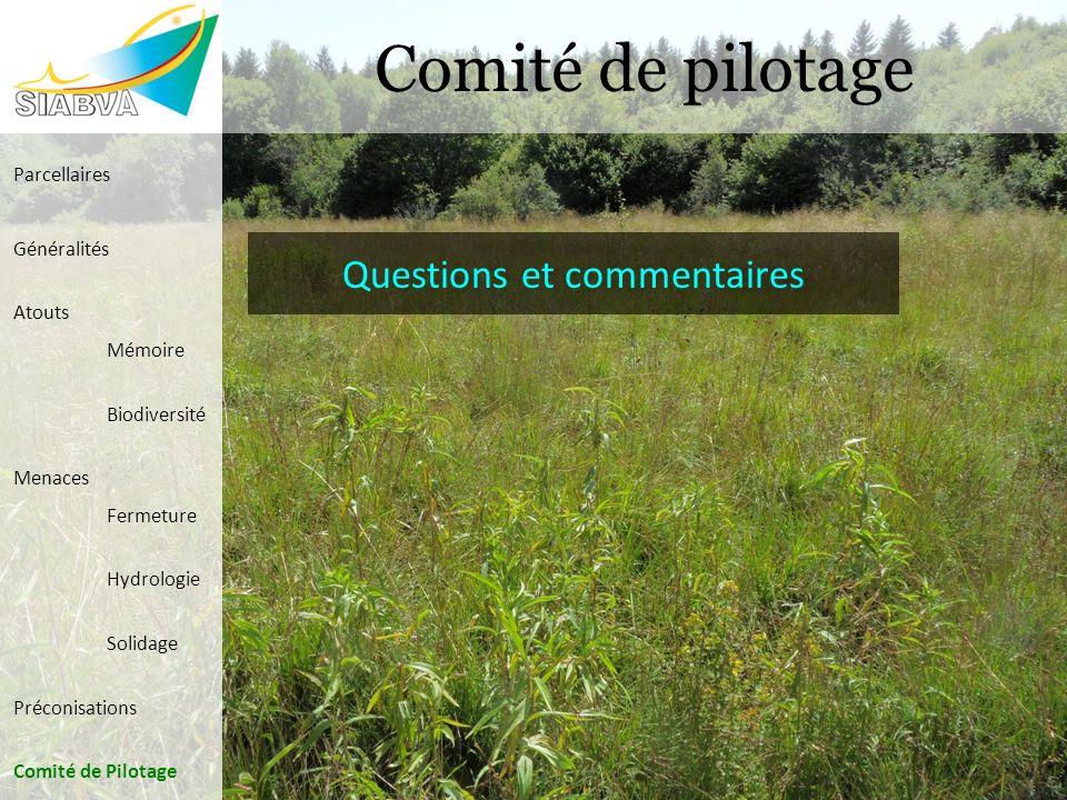 Comité de pilotage Parcellaires Généralités Atouts Mémoire Biodiversité Menaces Fermeture Hydrologie Solidage Préconisations Comité de Pilotage Questi