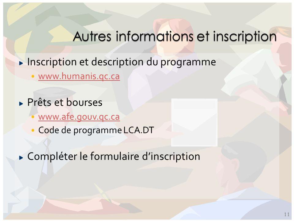 Inscription et description du programme www.humanis.qc.ca Prêts et bourses www.afe.gouv.qc.ca Code de programme LCA.DT Compléter le formulaire dinscri