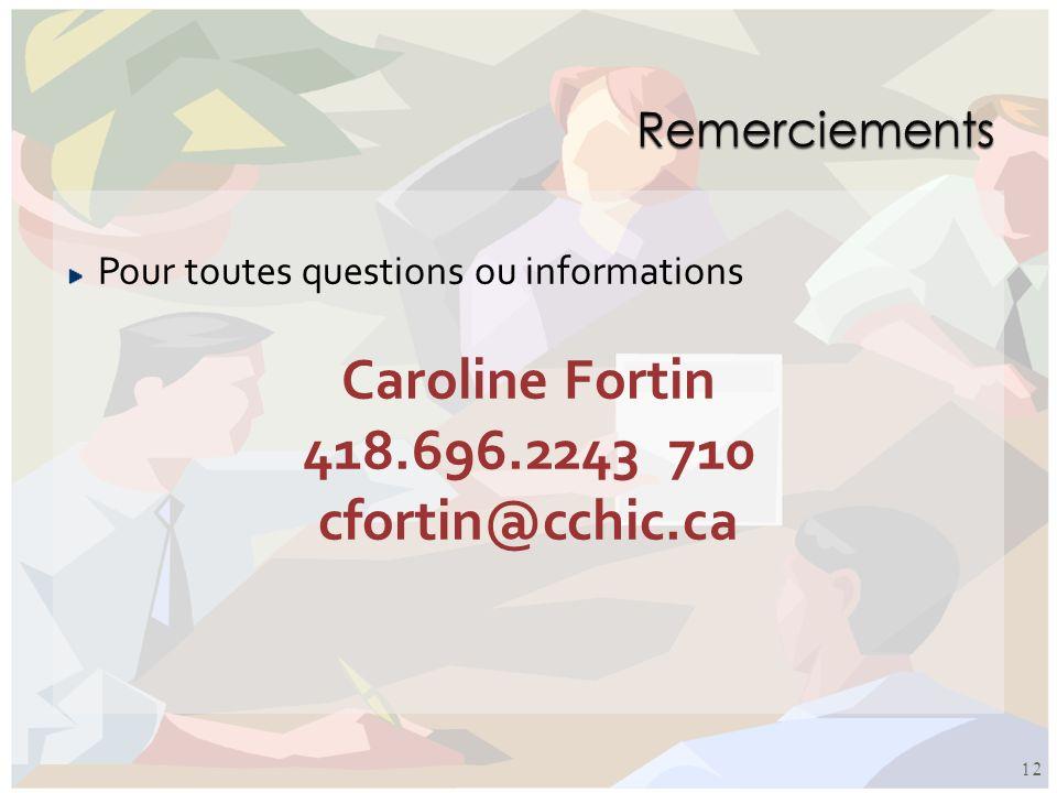 Pour toutes questions ou informations Caroline Fortin 418.696.2243 710 cfortin@cchic.ca 12