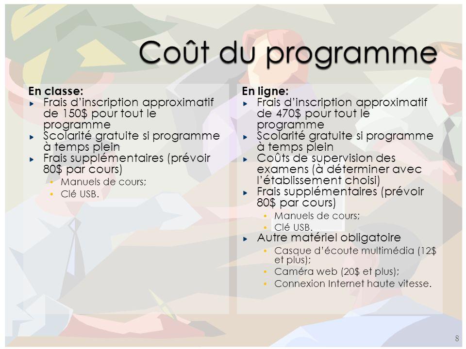En classe: Frais dinscription approximatif de 150$ pour tout le programme Scolarité gratuite si programme à temps plein Frais supplémentaires (prévoir