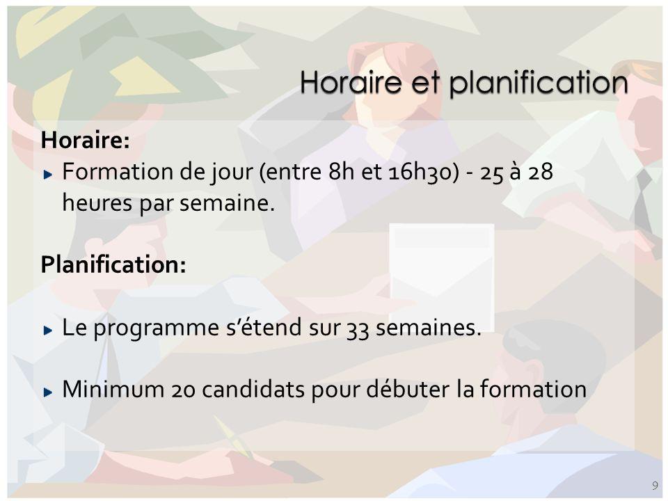 Horaire: Formation de jour (entre 8h et 16h30) - 25 à 28 heures par semaine. Planification: Le programme sétend sur 33 semaines. Minimum 20 candidats