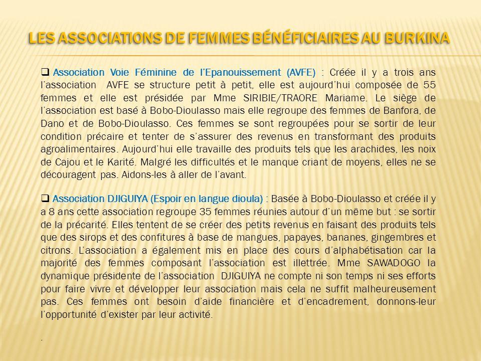 LES ASSOCIATIONS DE FEMMES BÉNÉFICIAIRES AU BURKINA Association Voie Féminine de lEpanouissement (AVFE) : Créée il y a trois ans lassociation AVFE se