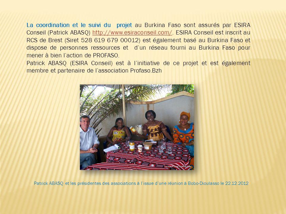 La coordination et le suivi du projet au Burkina Faso sont assurés par ESIRA Conseil (Patrick ABASQ) http://www.esiraconseil.com/. ESIRA Conseil est i