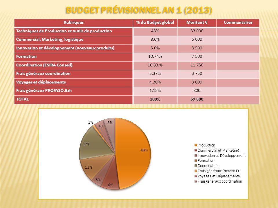 BUDGET PRÉVISIONNEL AN 1 (2013)..... Rubriques% du Budget globalMontant Commentaires Techniques de Production et outils de production48%33 000 Commerc