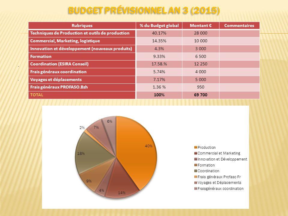 BUDGET PRÉVISIONNEL AN 3 (2015)..... Rubriques% du Budget globalMontant Commentaires Techniques de Production et outils de production40.17%28 000 Comm