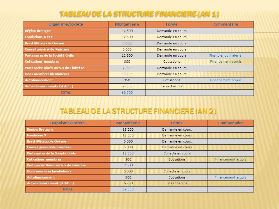 TABLEAU DE LA STRUCTURE FINANCIERE (AN 1)..... Organisme/SociétéMontant en FormeCommentaire Région Bretagne12 500Demande en cours Fondations X et Y12
