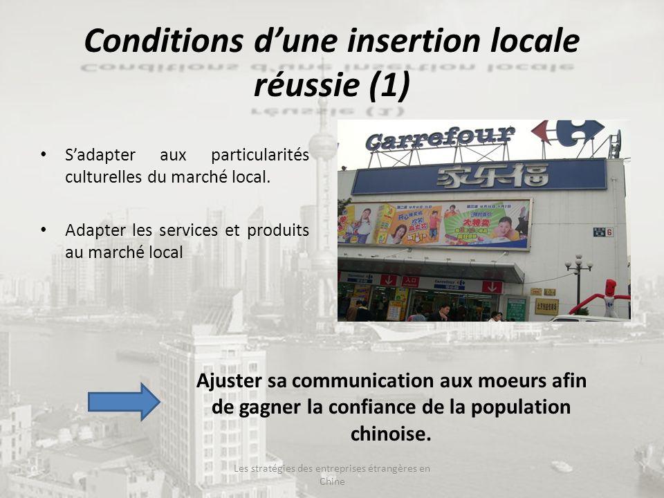 Conditions dune insertion locale réussie (1) Sadapter aux particularités culturelles du marché local. Adapter les services et produits au marché local
